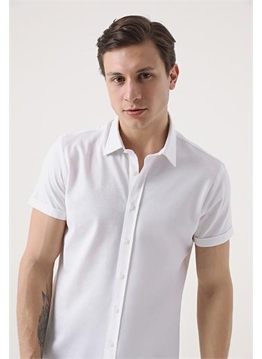 Tween Tween Slim Fit Beyaz Örme Gömlek Beyaz